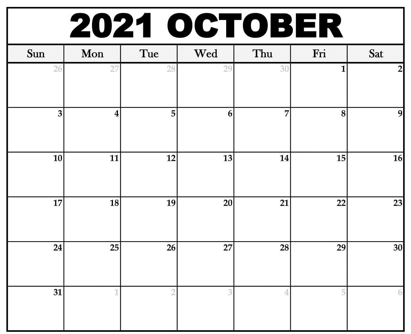 Printable October 2021 Calendar Yearly