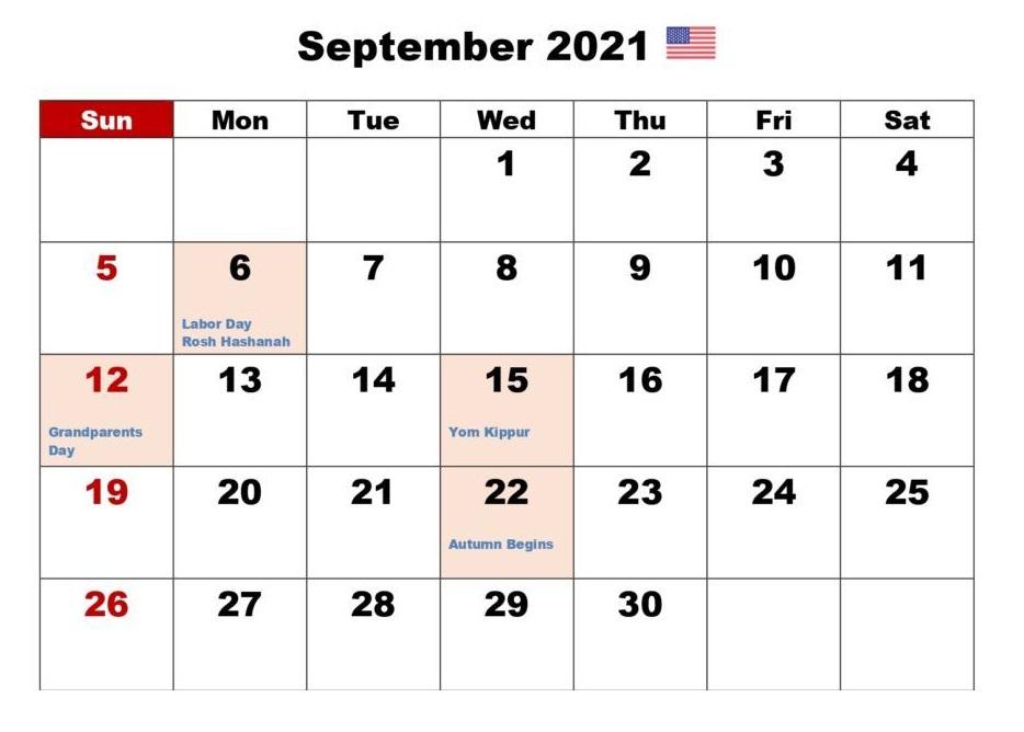 Printable September 2021 Calendar Holidays