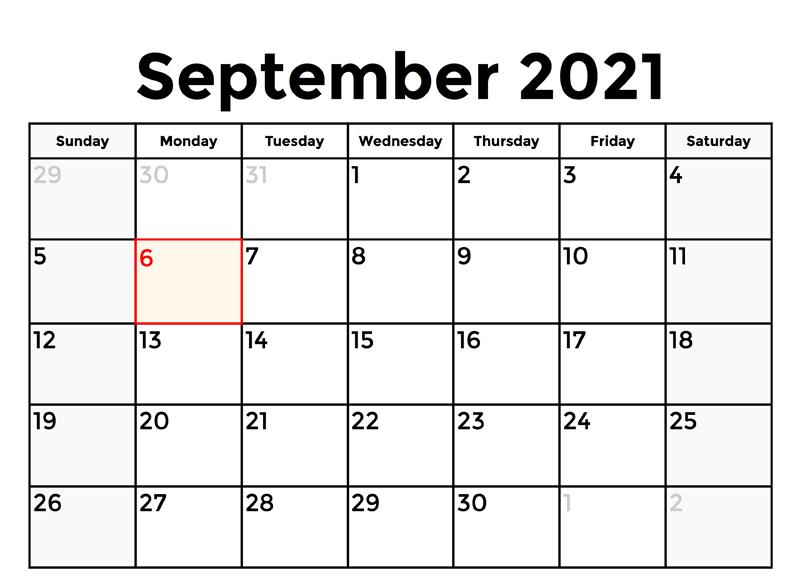 Printable September 2021 Calendar Online