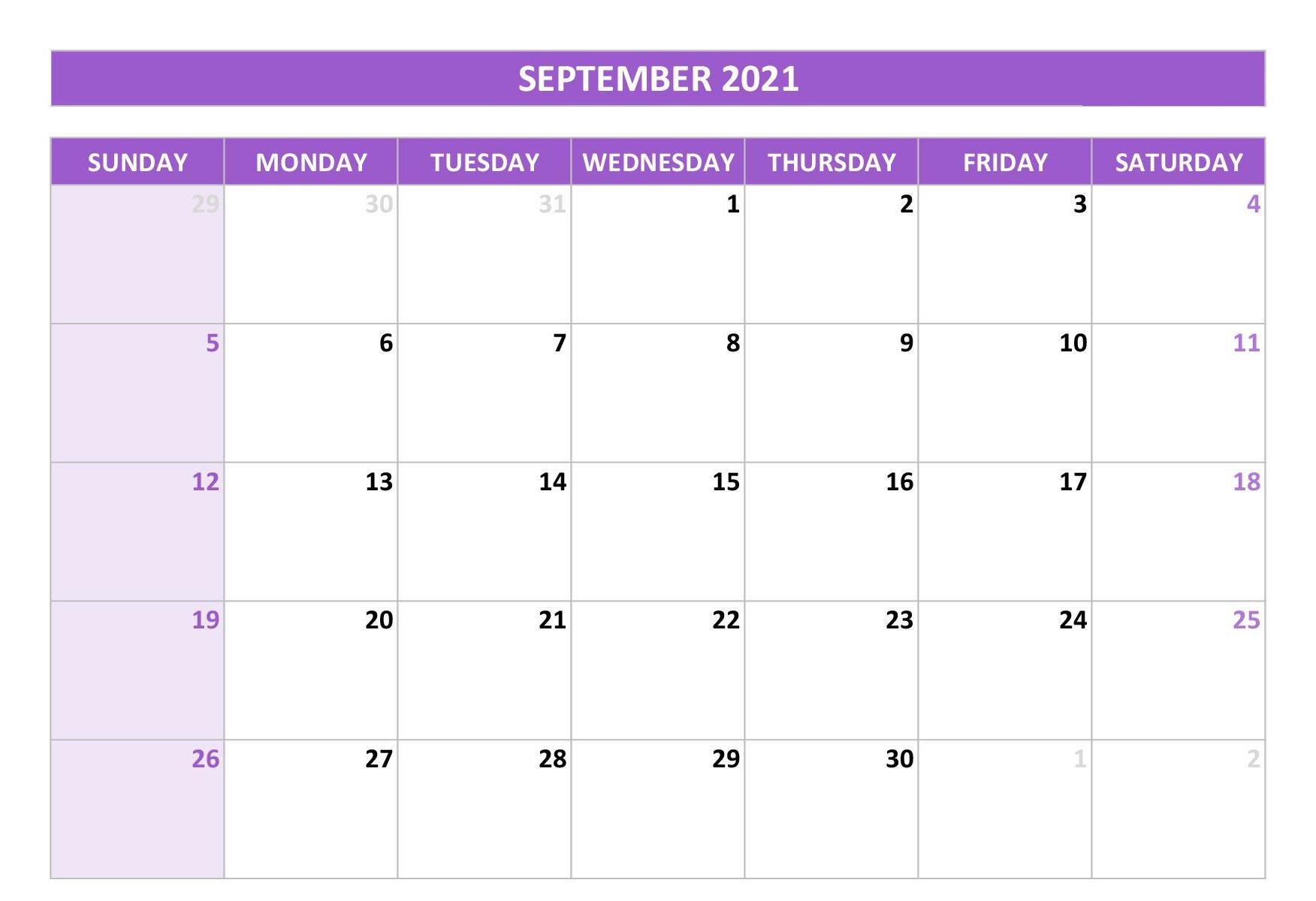 Printable September 2021 Calendar Planner