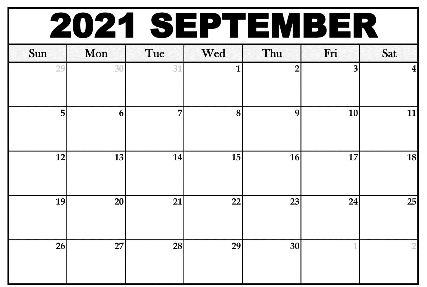 Printable September 2021 Calendar USA