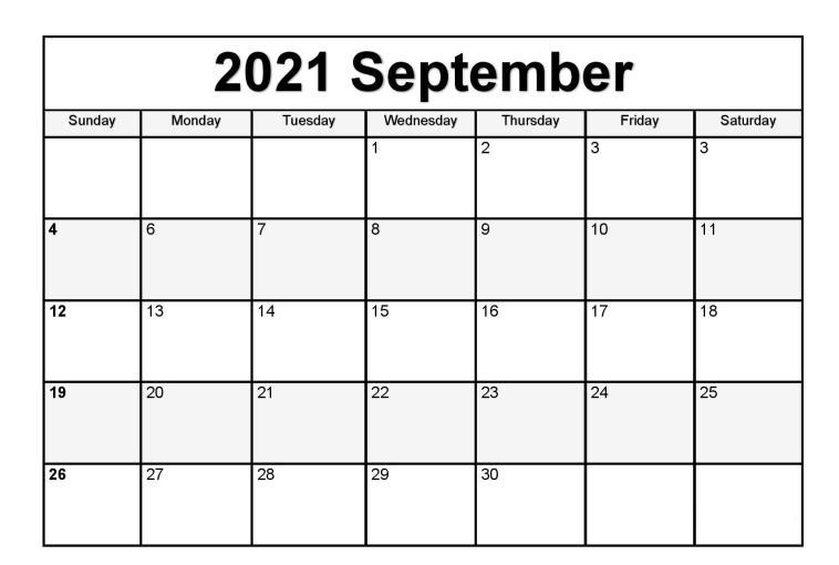 September 2021 Calendar Blank