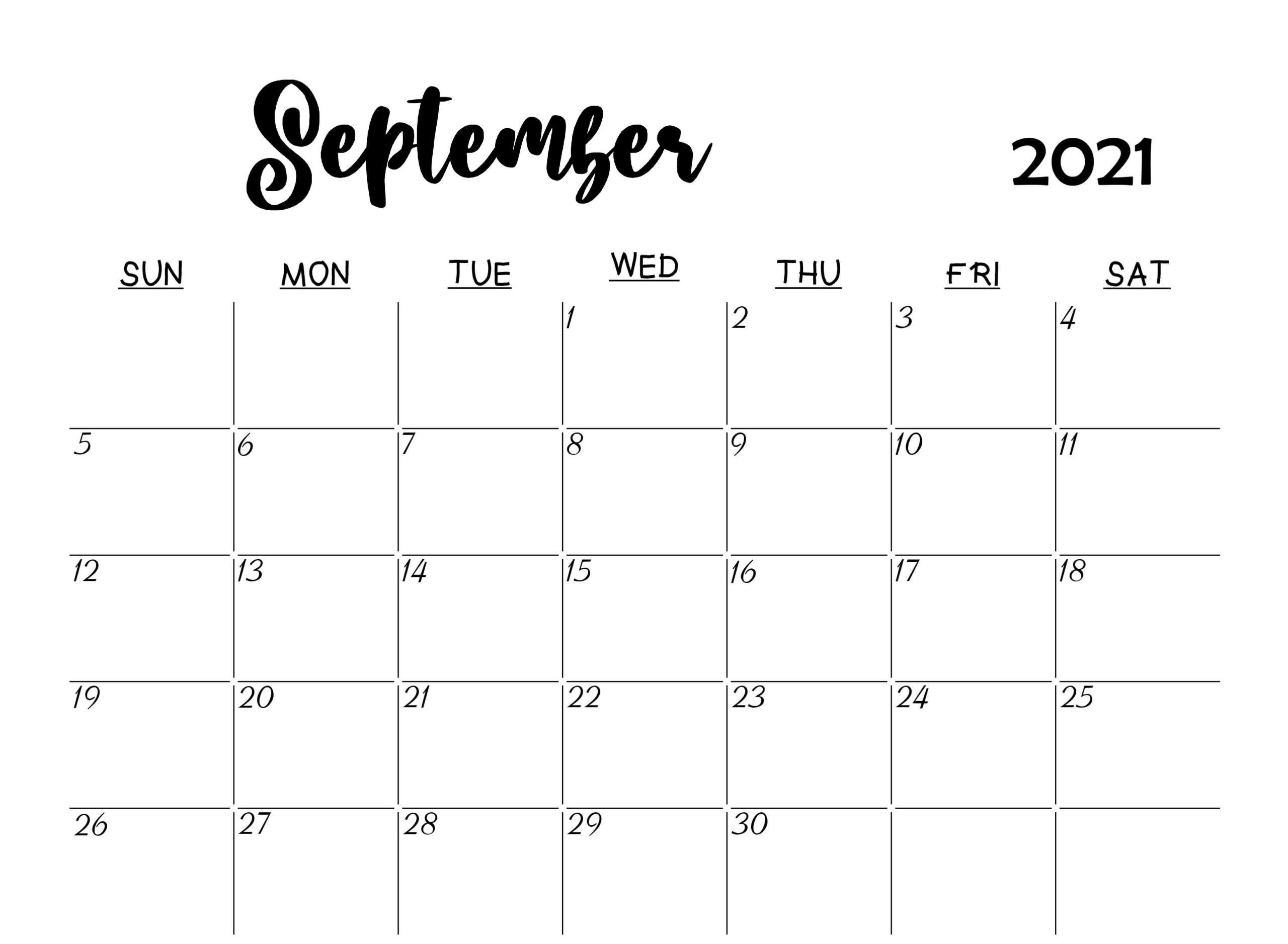 September 2021 Calendar Daily