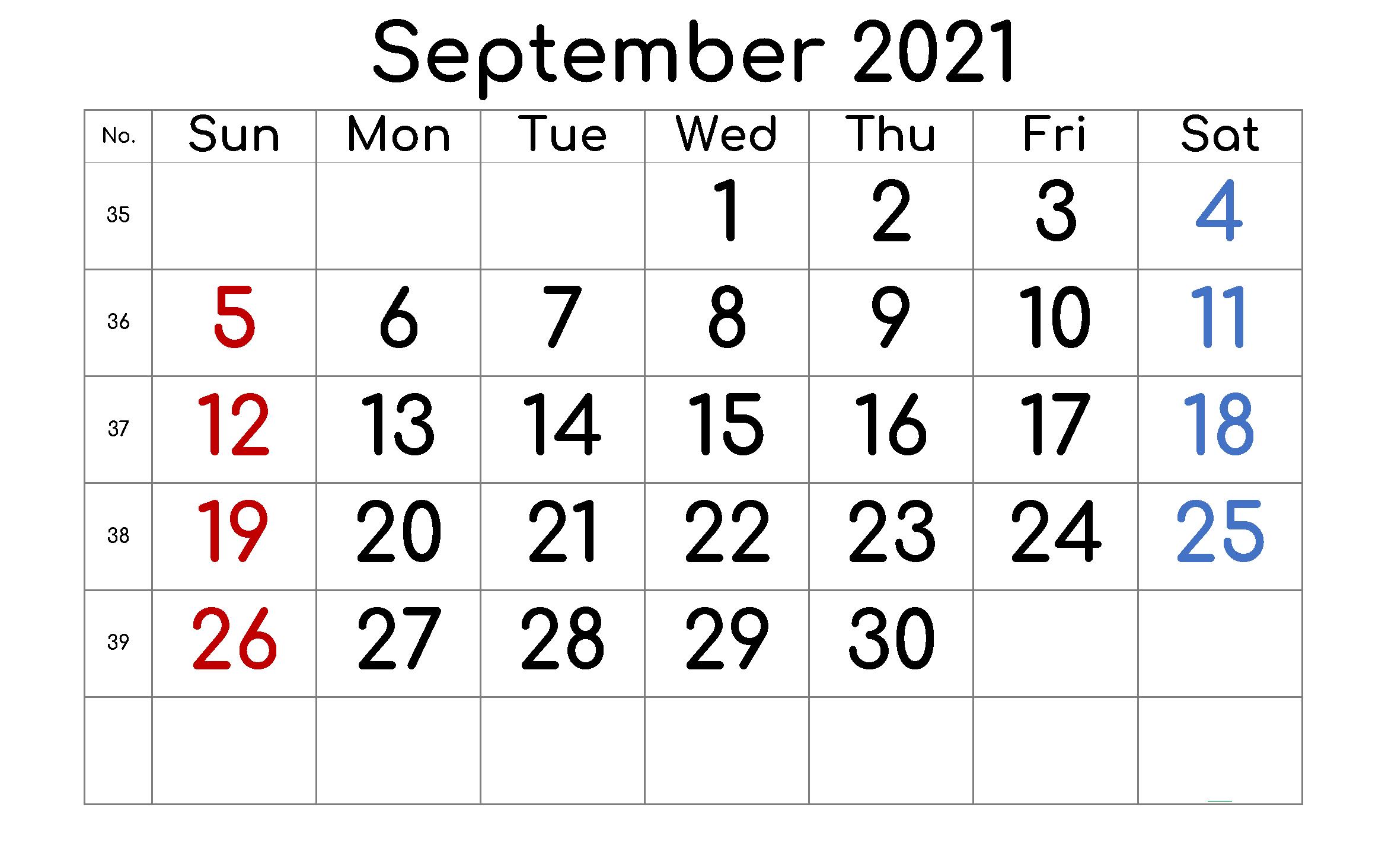 September 2021 Calendar Planner Printable