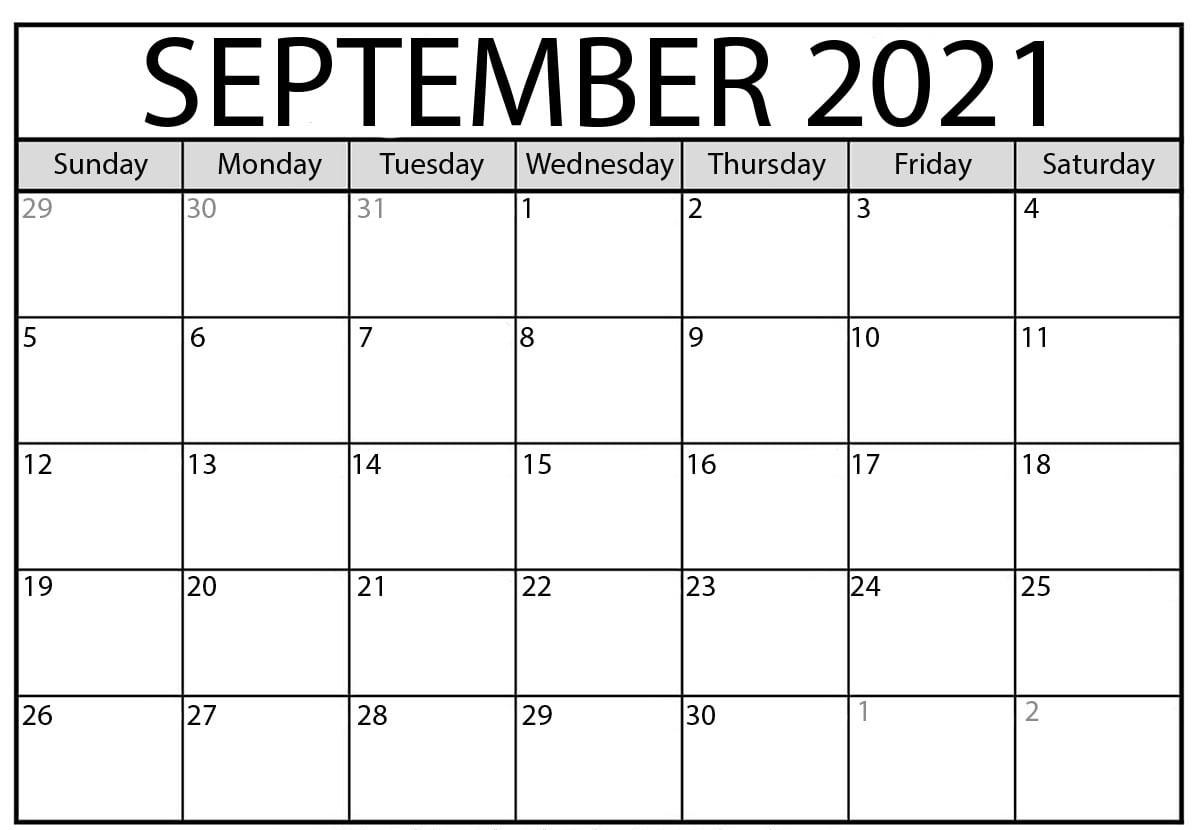 September 2021 Calendar With Holidays Editable