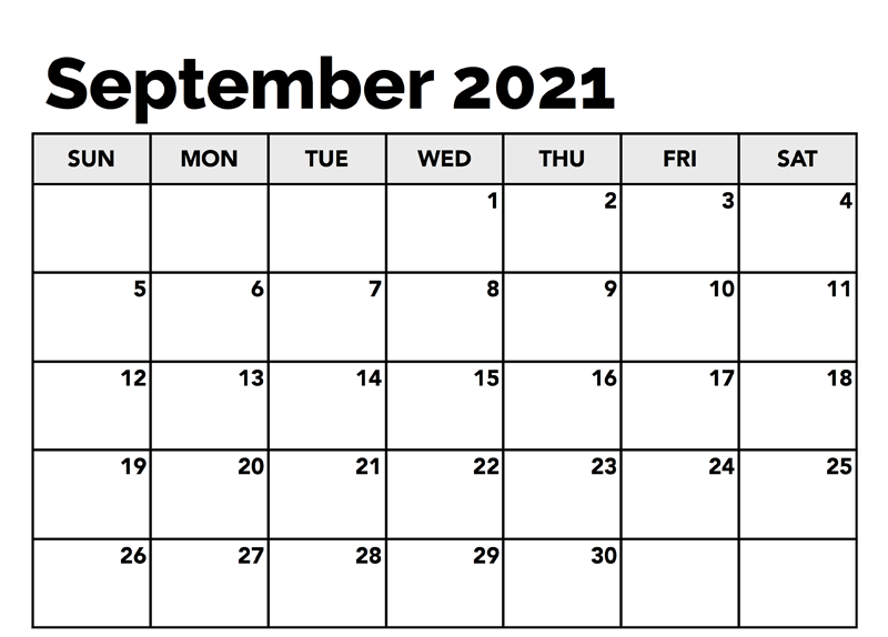 September 2021 Daily Calendar