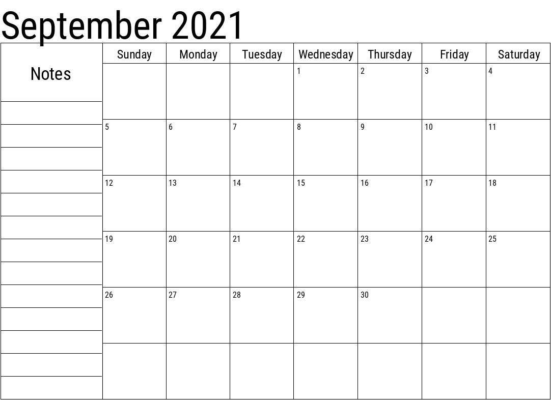 September 2021 Planner Calendar