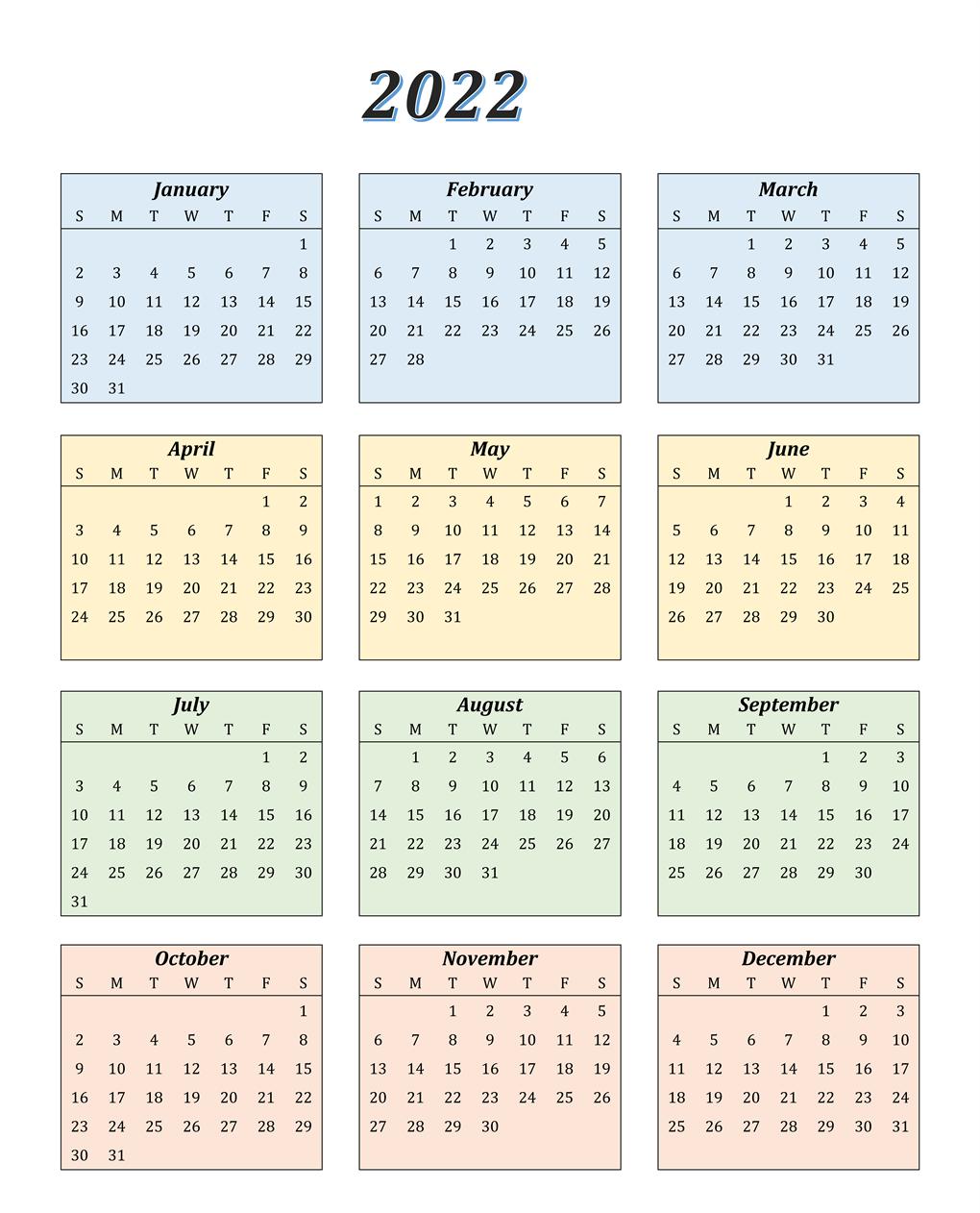 Blank 2022 Calendar Printable