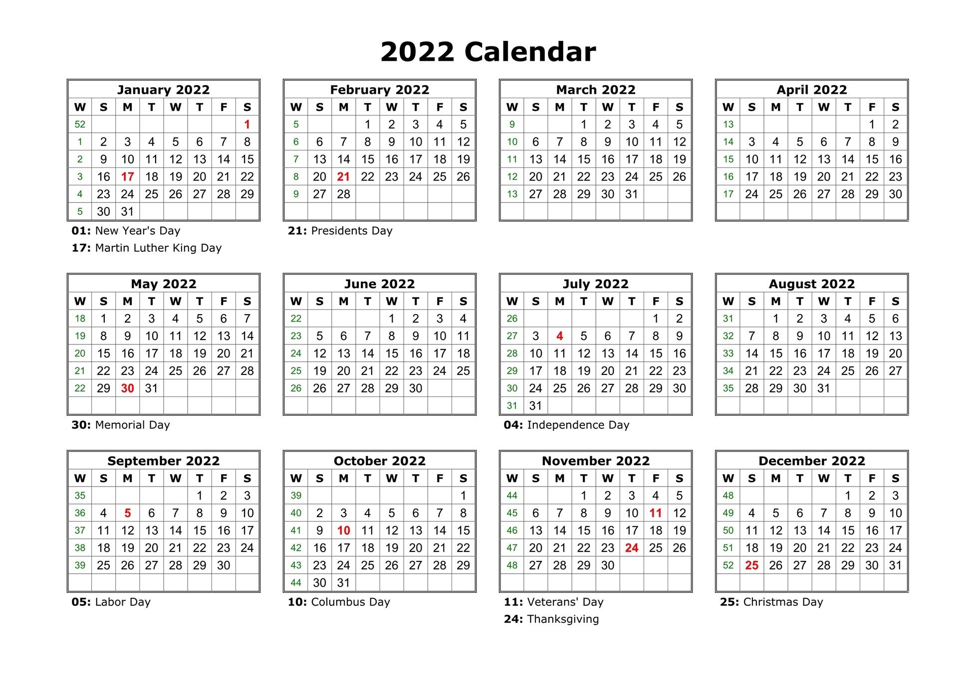 Blank Calendar 2022 Printable Free