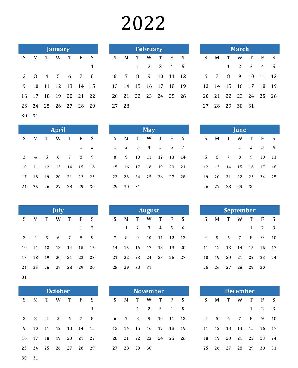 Blank Calendar 2022 Printable PDF
