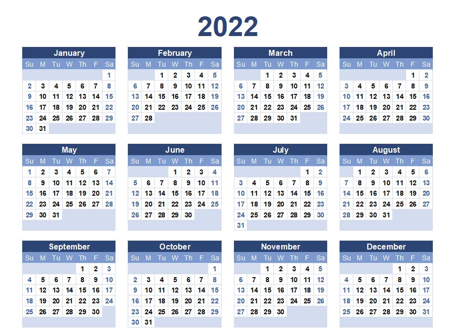 Blank Calendar 2022 Printable