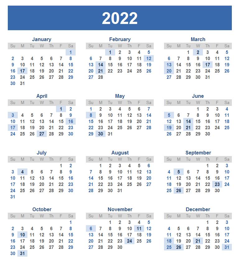 Monthly 2022 Calendar Blank