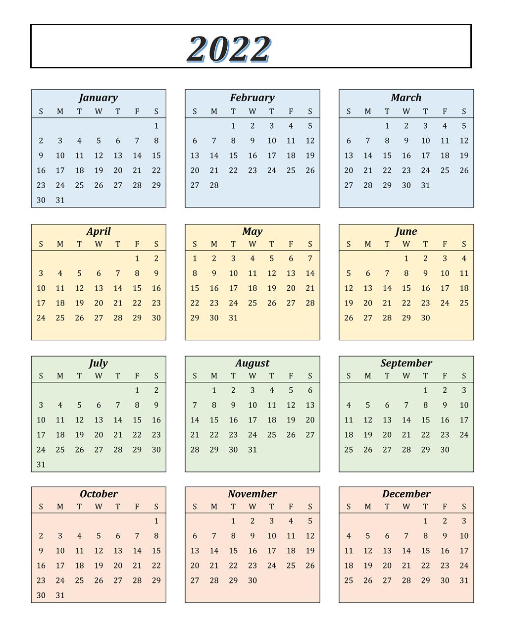 Monthly 2022 Calendar Download