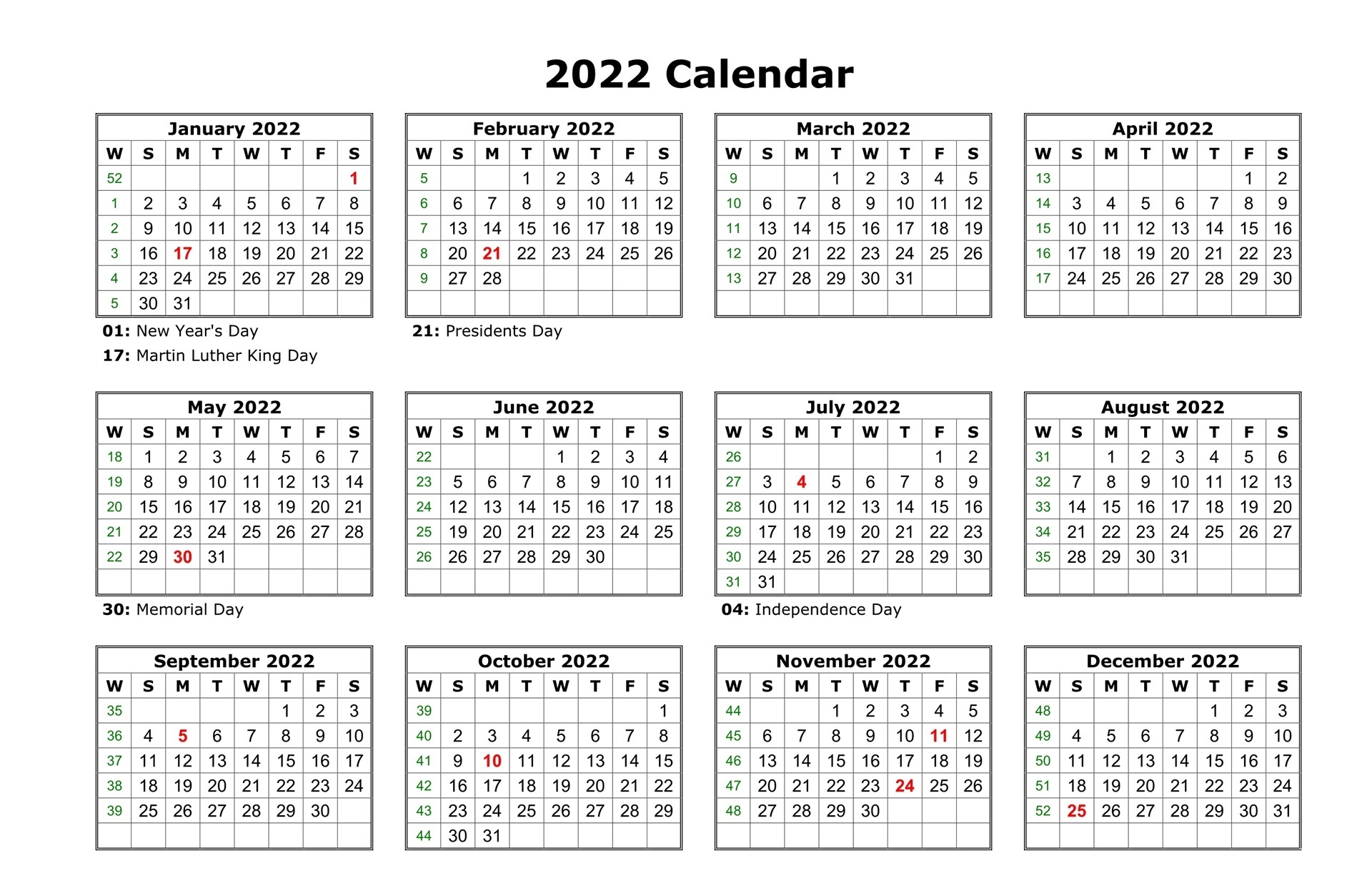 Monthly 2022 Calendar Free
