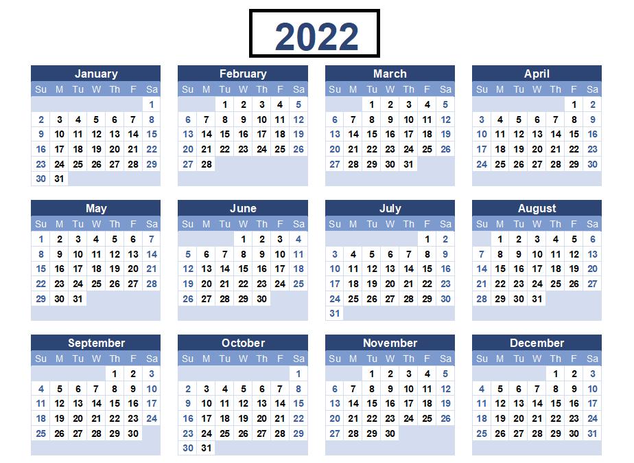 Monthly 2022 Calendar Word