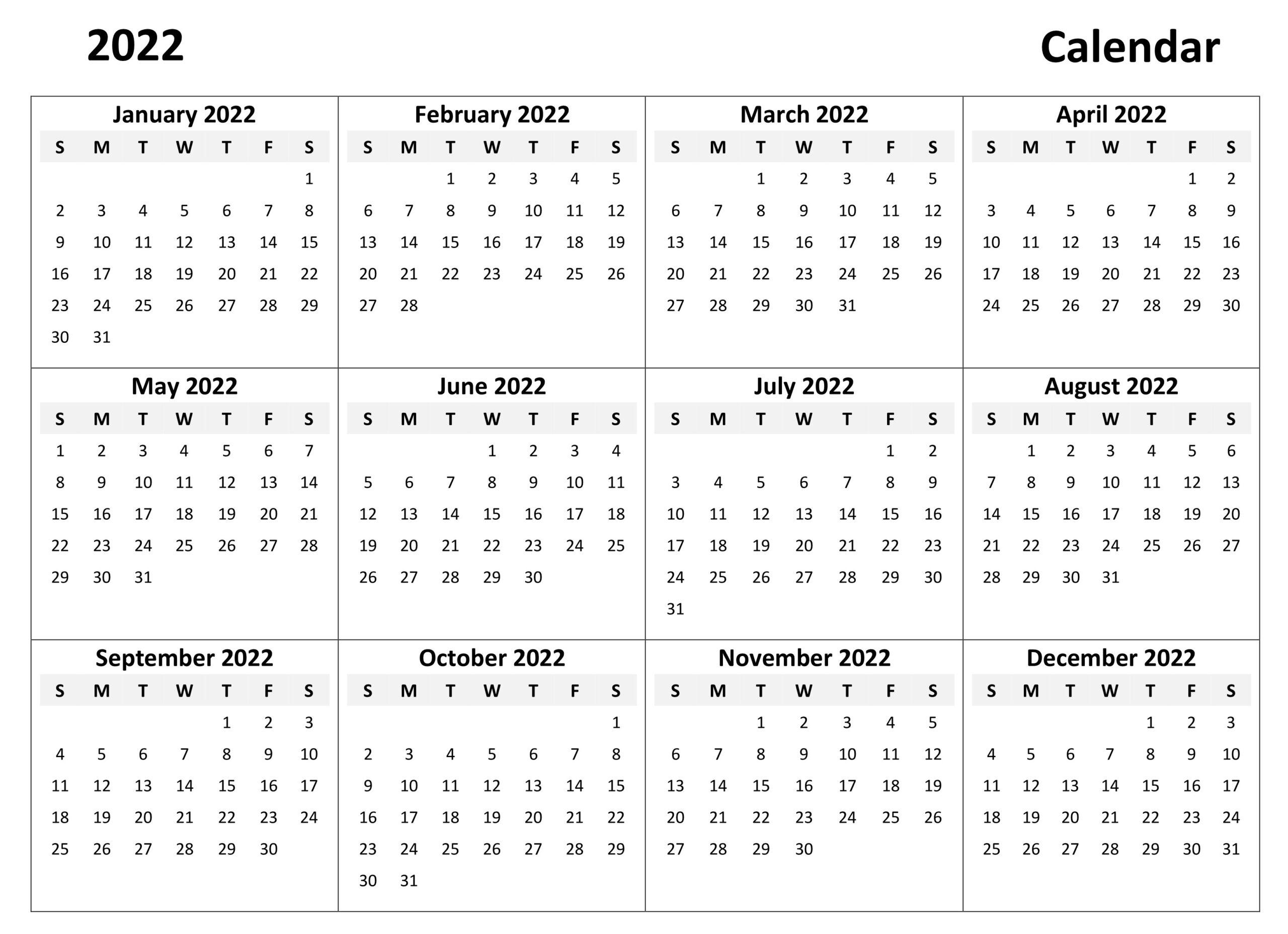 Monthly 2022 Calendar