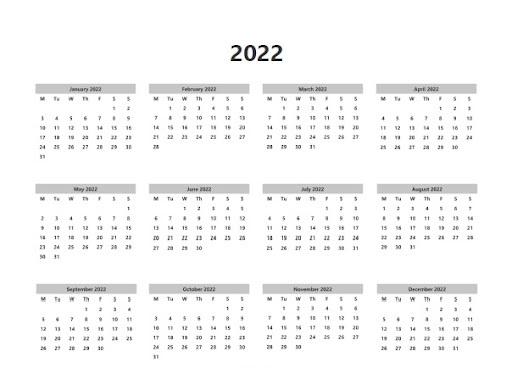 Printable 2022 Blank Calendar