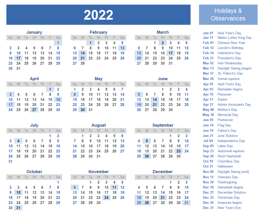 Yearly 2022 Calendar Download