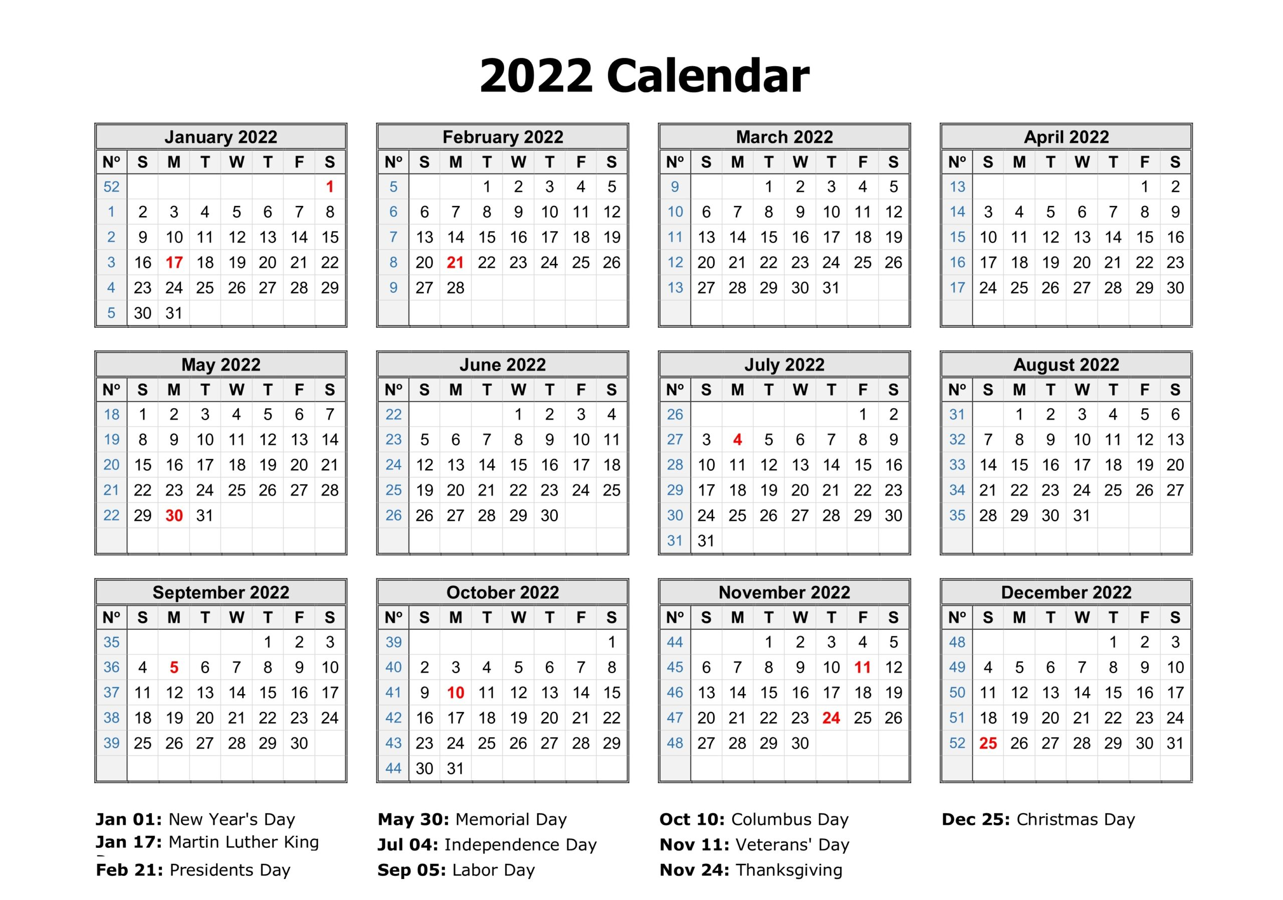 Yearly 2022 Calendar Excel