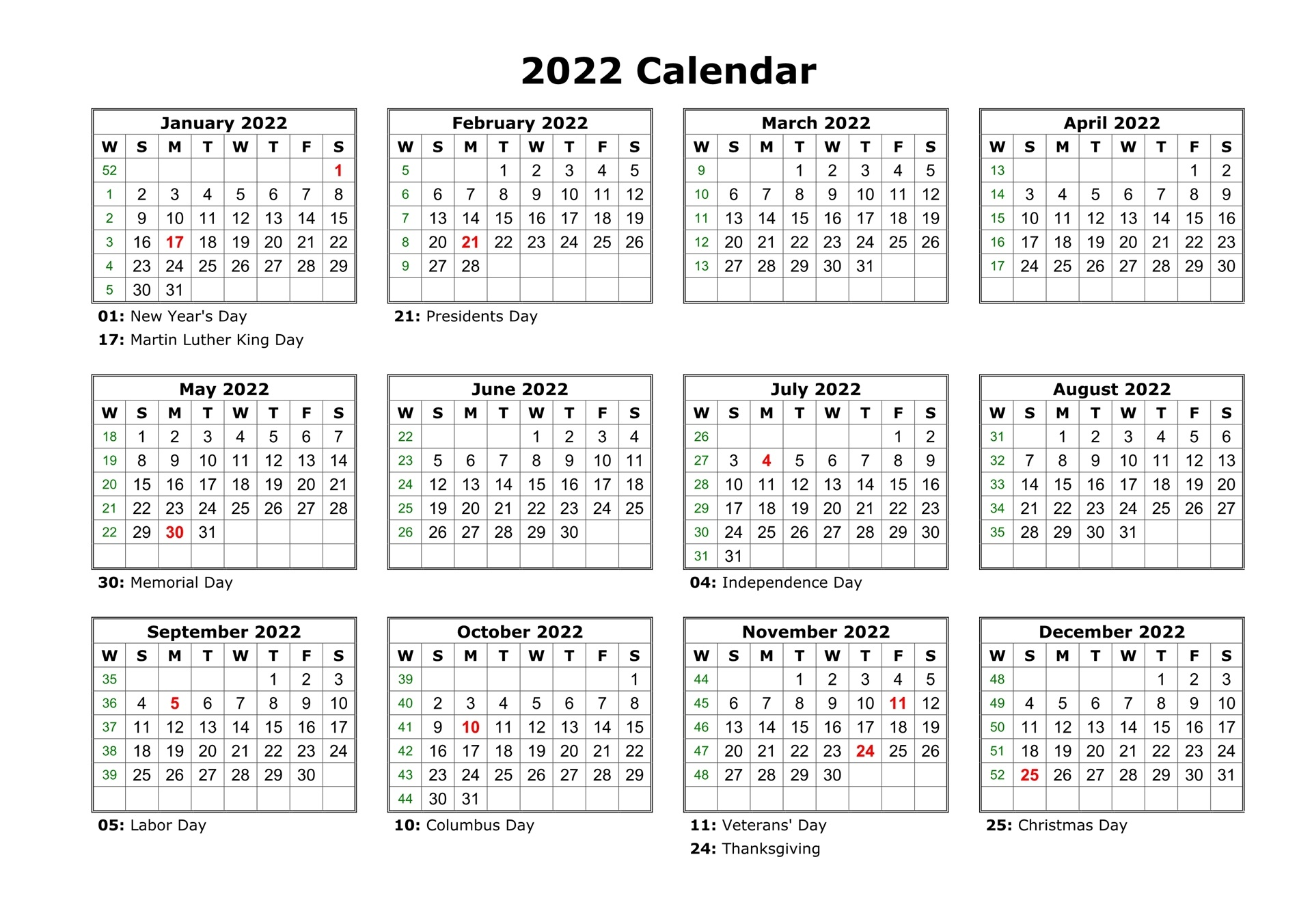 Yearly 2022 Calendar PDF