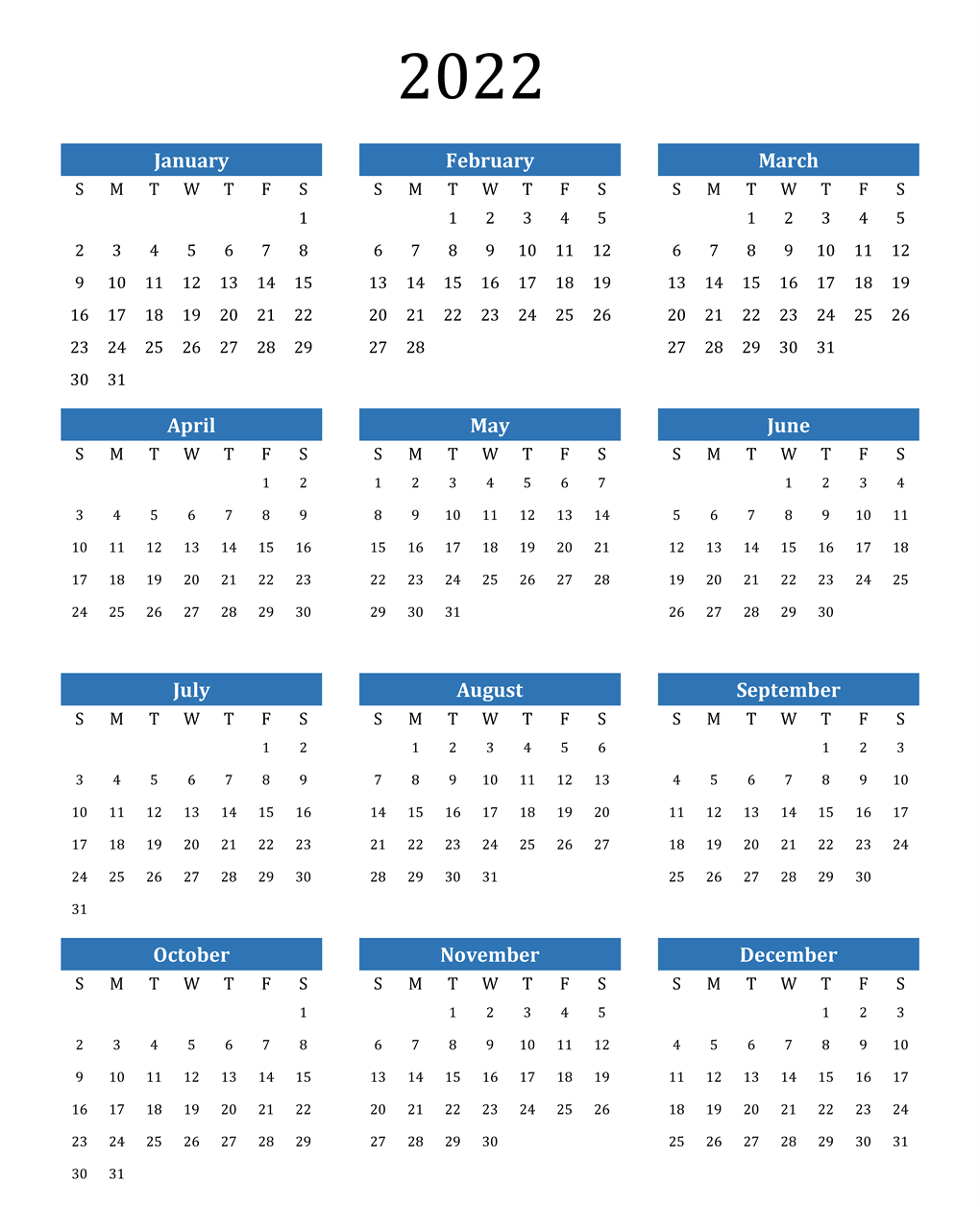 Yearly 2022 Calendar Template
