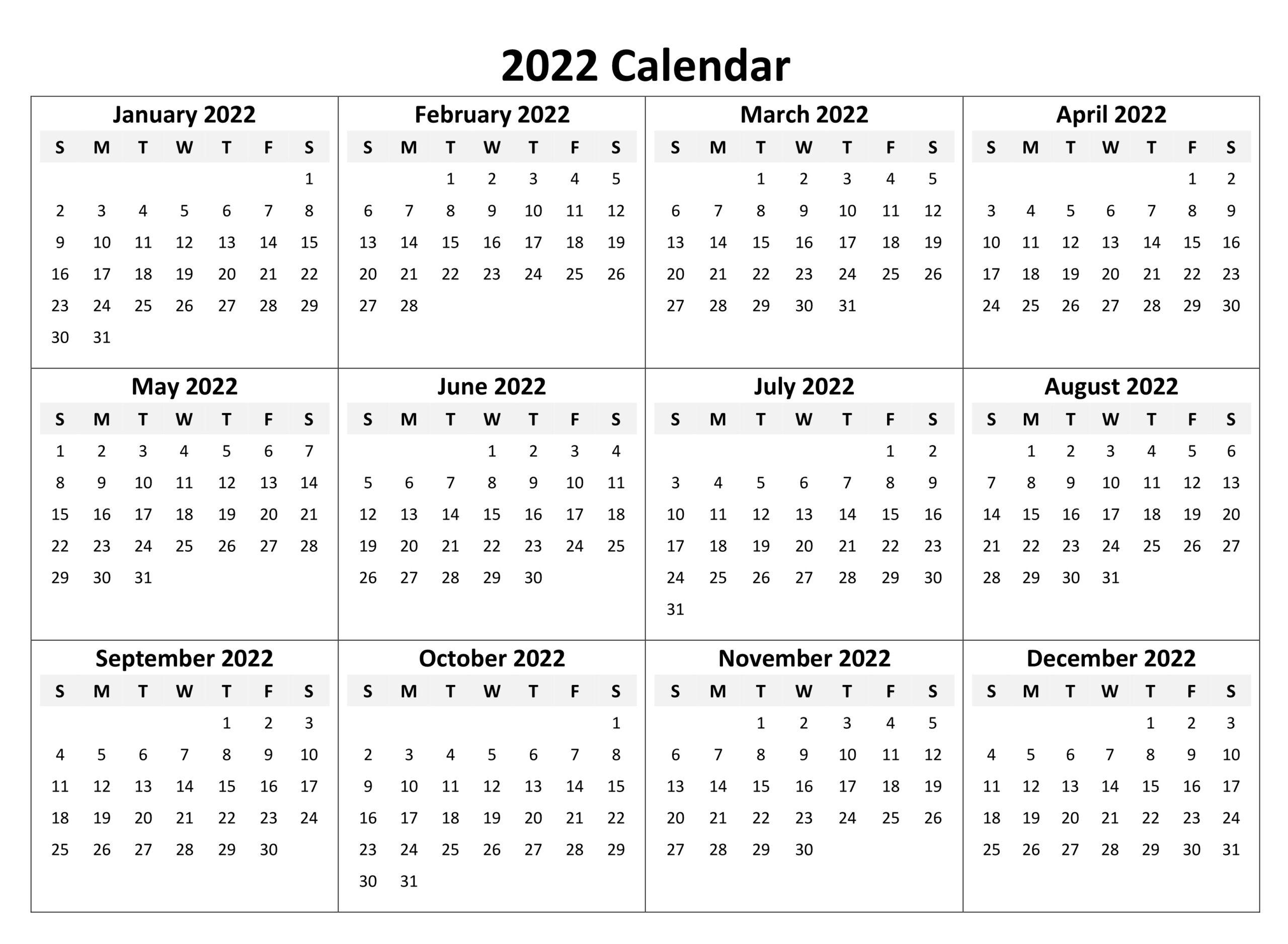 Yearly 2022 Calendar